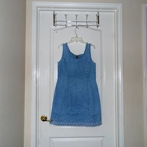 Dresses & Skirts - USED Blue Jean Dress With Lace